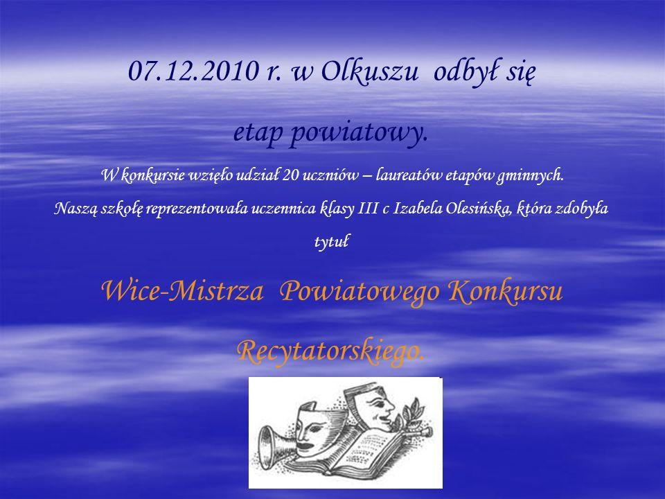 Wice-Mistrza Powiatowego Konkursu Recytatorskiego.