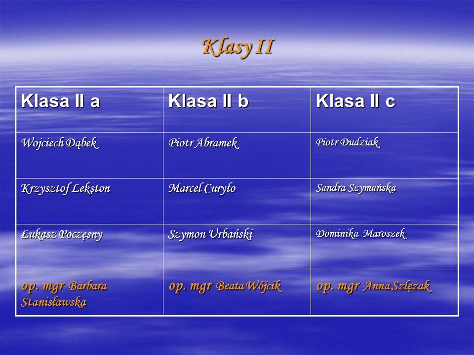 Klasy II Klasa II a Klasa II b Klasa II c op. mgr Barbara Stanisławska