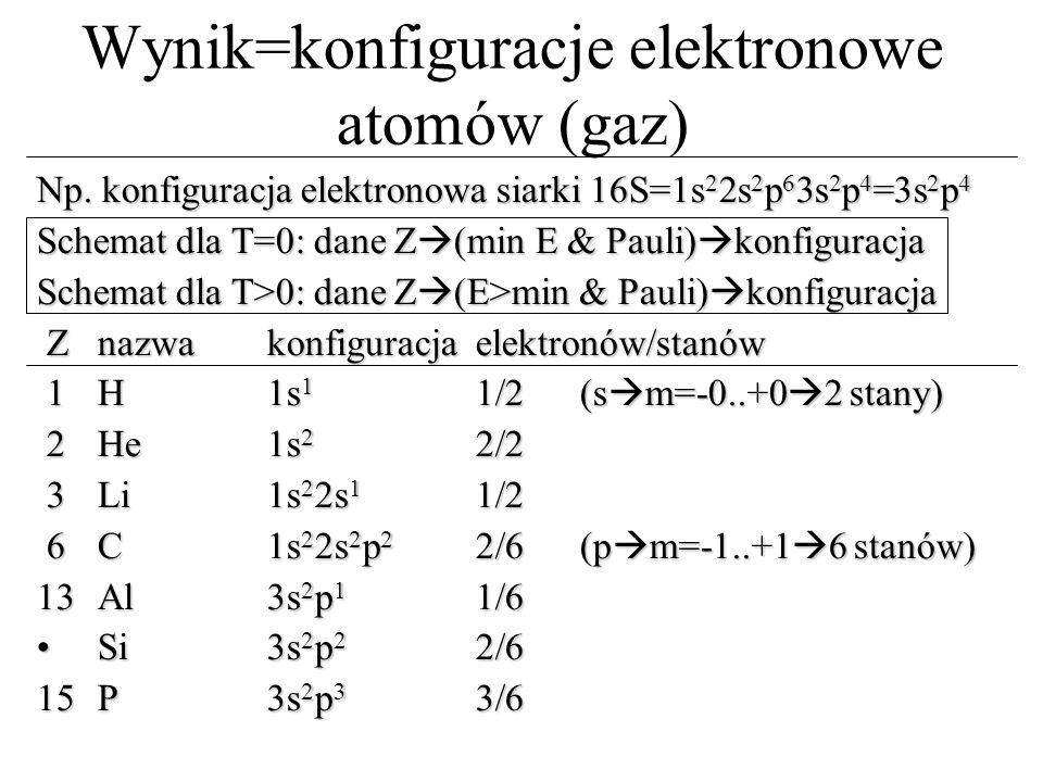 Wynik=konfiguracje elektronowe atomów (gaz)