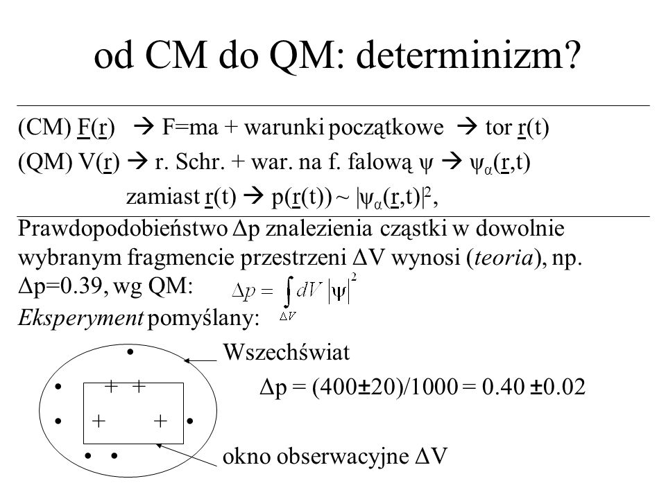 od CM do QM: determinizm