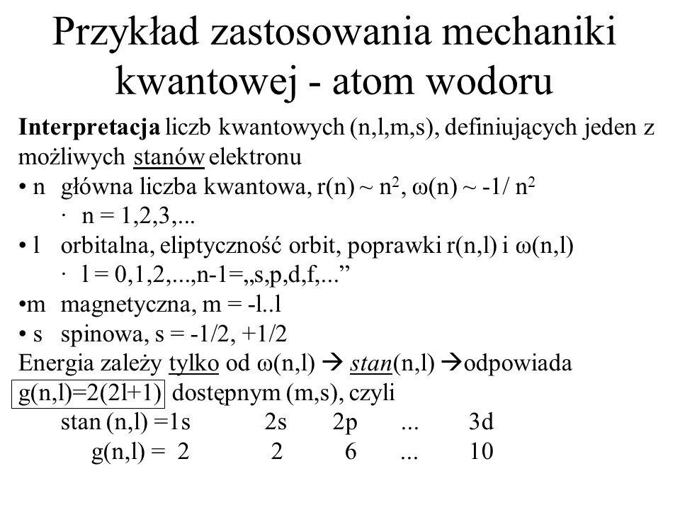 Przykład zastosowania mechaniki kwantowej - atom wodoru