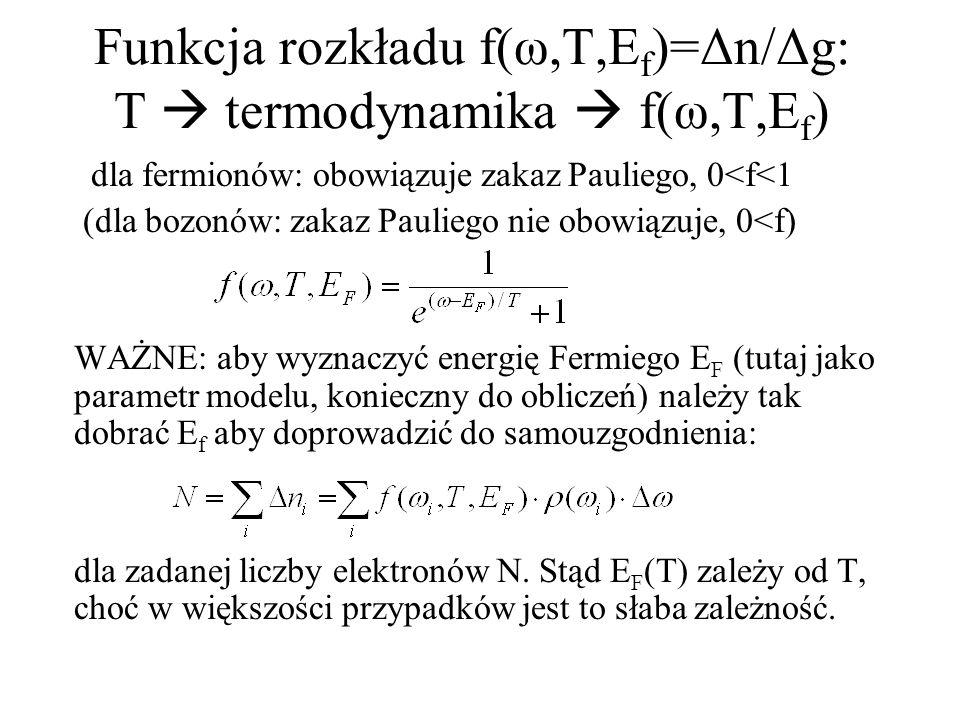 Funkcja rozkładu f(ω,T,Ef)=Δn/Δg: T  termodynamika  f(ω,T,Ef)
