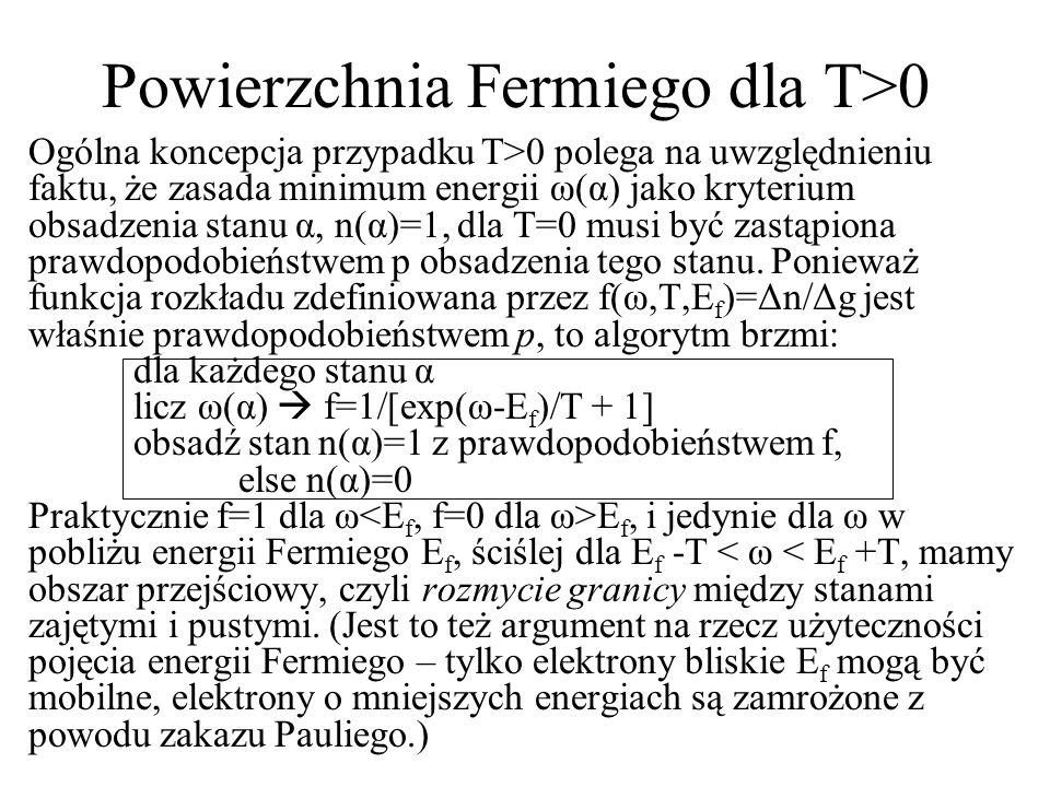 Powierzchnia Fermiego dla T>0