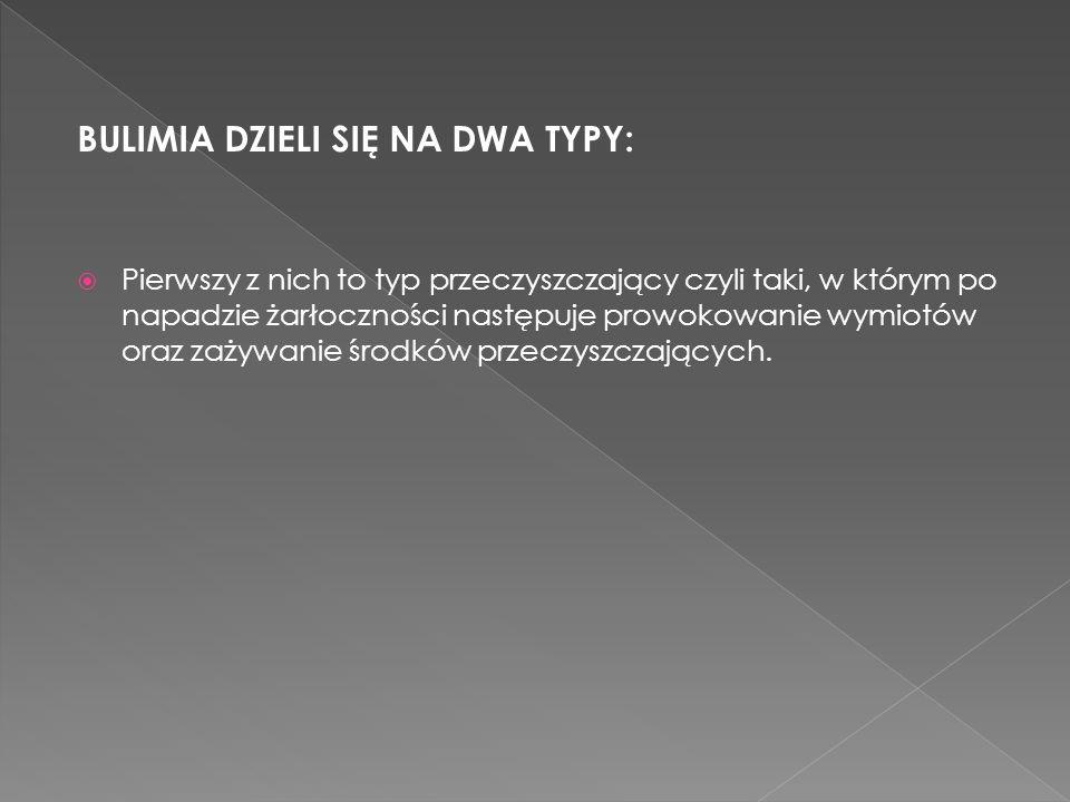 BULIMIA DZIELI SIĘ NA DWA TYPY: