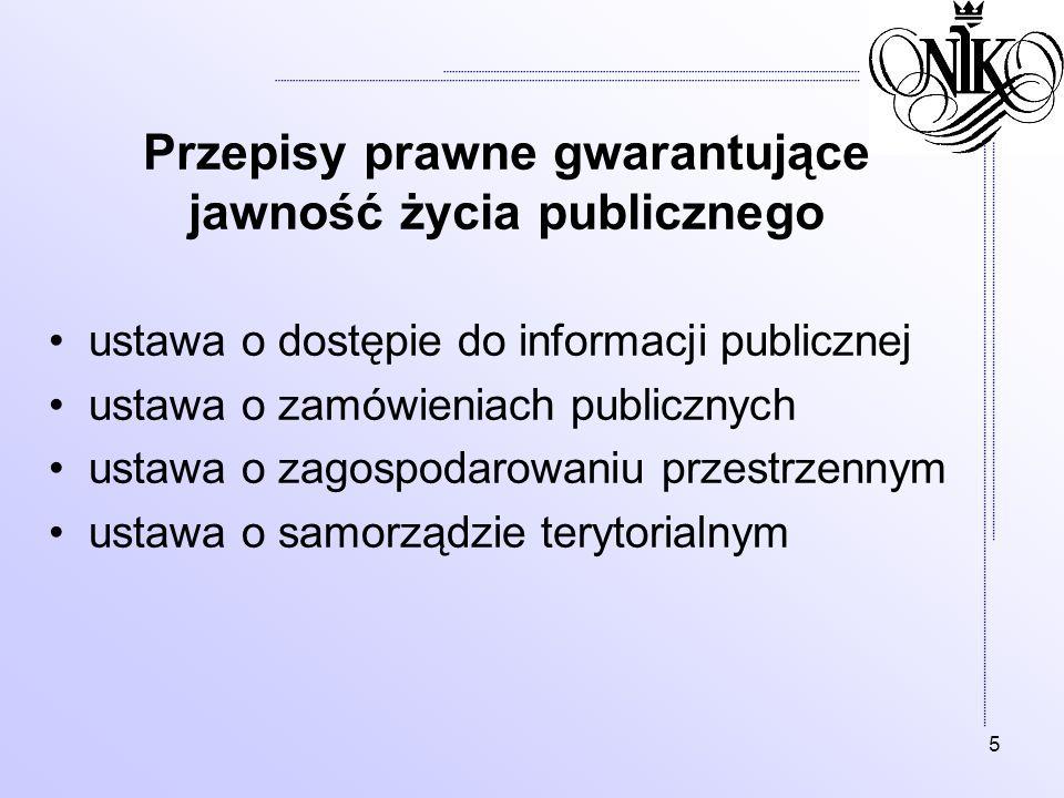 Przepisy prawne gwarantujące jawność życia publicznego