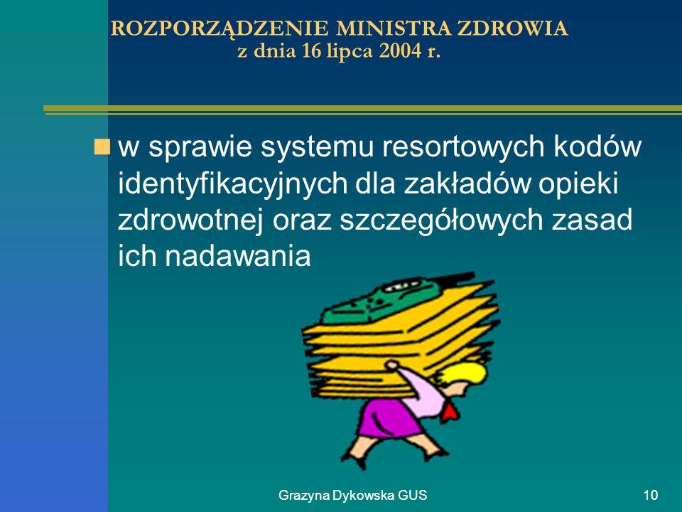 ROZPORZĄDZENIE MINISTRA ZDROWIA z dnia 16 lipca 2004 r.