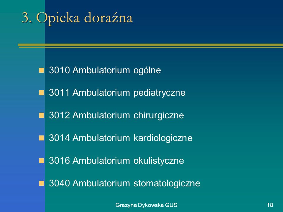 3. Opieka doraźna 3010 Ambulatorium ogólne