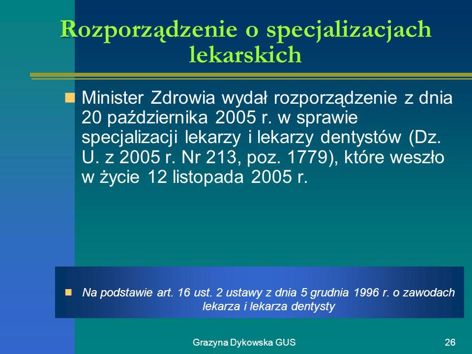 Rozporządzenie o specjalizacjach lekarskich