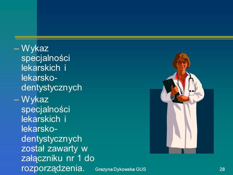 Wykaz specjalności lekarskich i lekarsko-dentystycznych