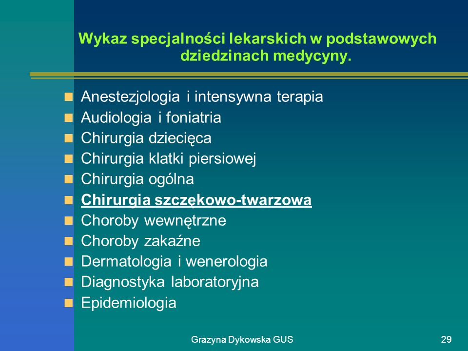 Wykaz specjalności lekarskich w podstawowych dziedzinach medycyny.