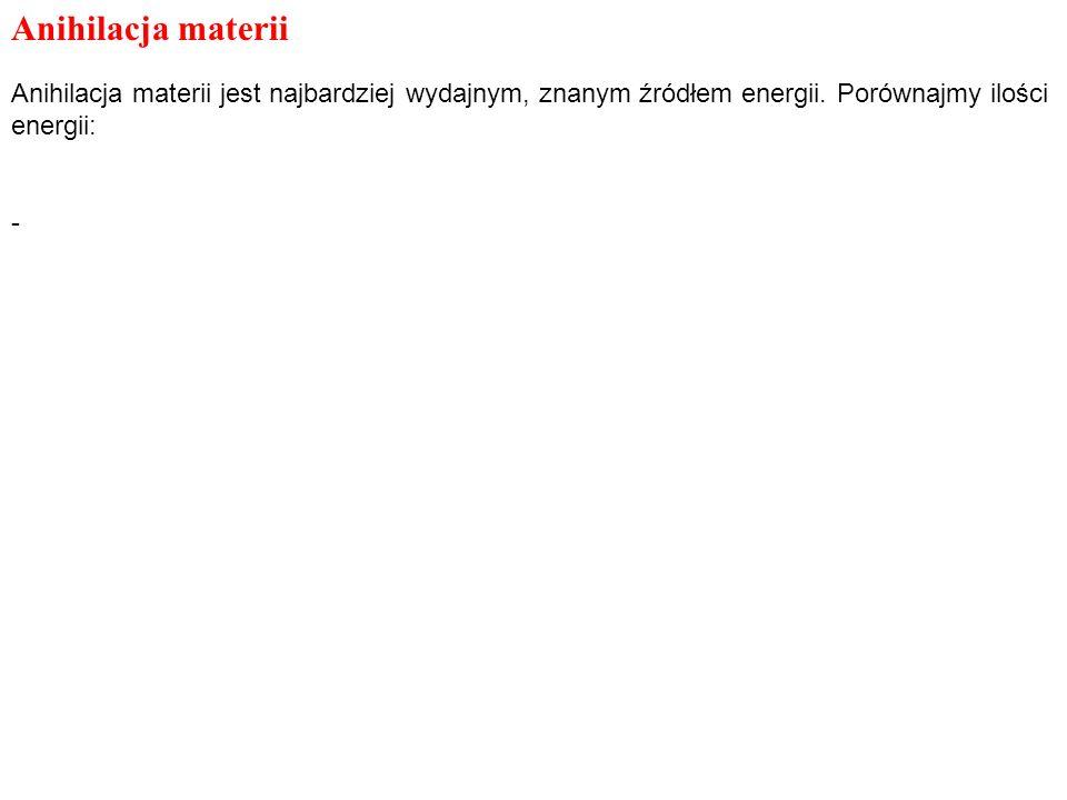 Anihilacja materii Anihilacja materii jest najbardziej wydajnym, znanym źródłem energii.