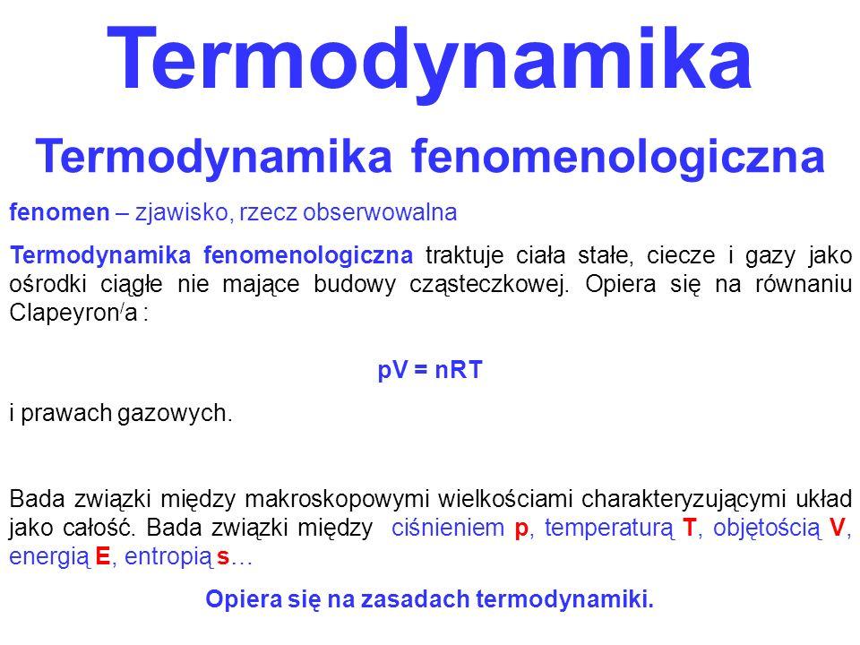 Termodynamika fenomenologiczna Opiera się na zasadach termodynamiki.