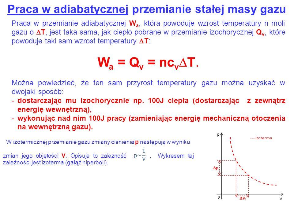 Praca w adiabatycznej przemianie stałej masy gazu