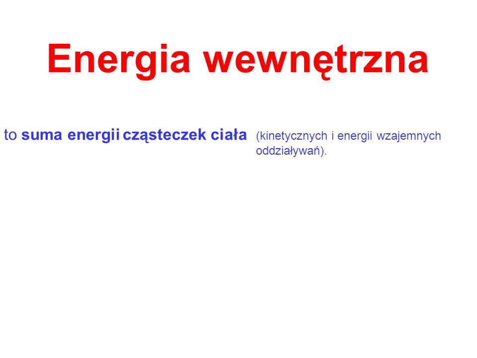 Energia wewnętrznato suma energii cząsteczek ciała (kinetycznych i energii wzajemnych.