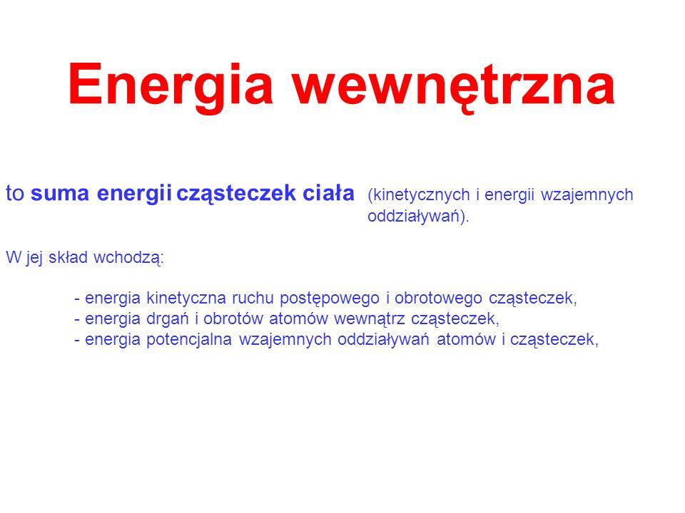 Energia wewnętrznato suma energii cząsteczek ciała (kinetycznych i energii wzajemnych. oddziaływań).