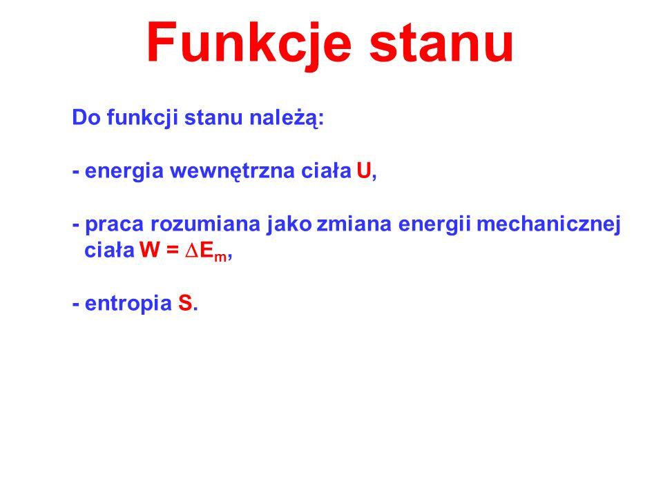 Funkcje stanu - energia wewnętrzna ciała U,