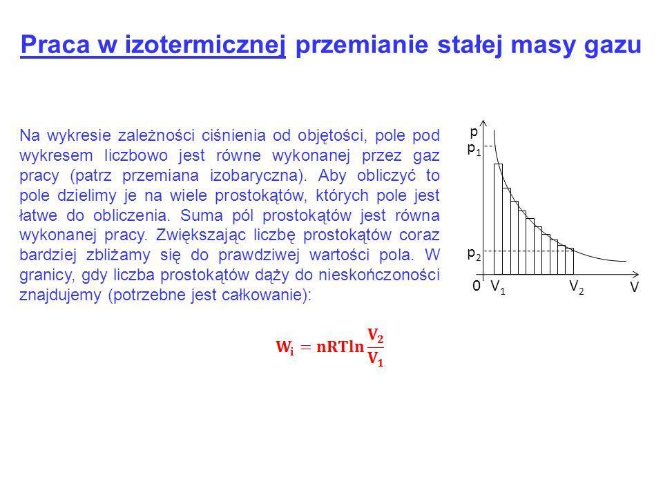 Praca w izotermicznej przemianie stałej masy gazu