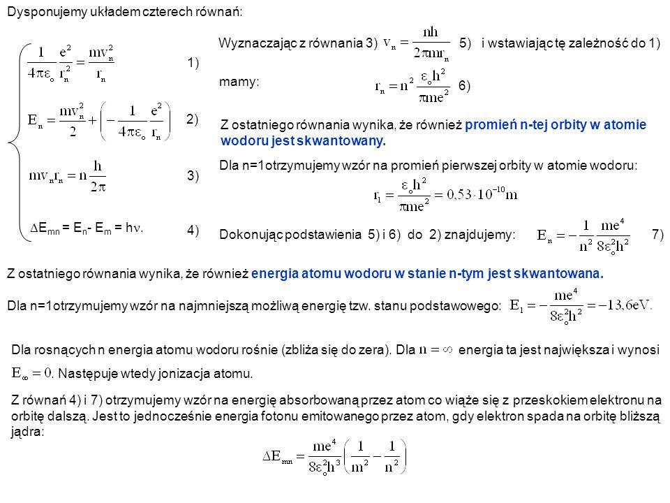 Dysponujemy układem czterech równań: