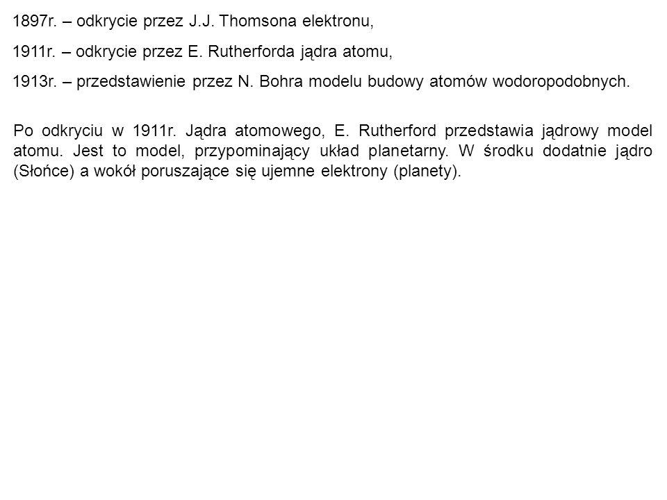 1897r. – odkrycie przez J.J. Thomsona elektronu,