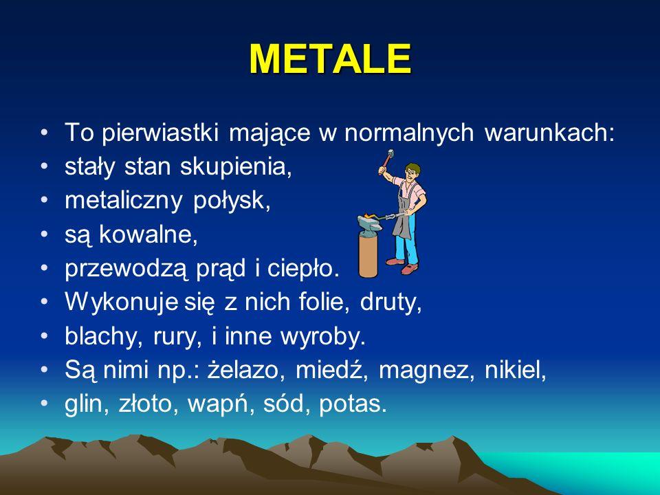 METALE To pierwiastki mające w normalnych warunkach: