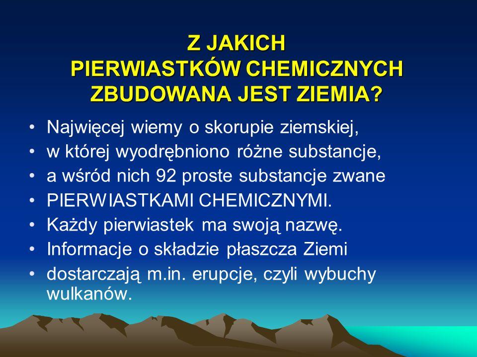 Z JAKICH PIERWIASTKÓW CHEMICZNYCH ZBUDOWANA JEST ZIEMIA