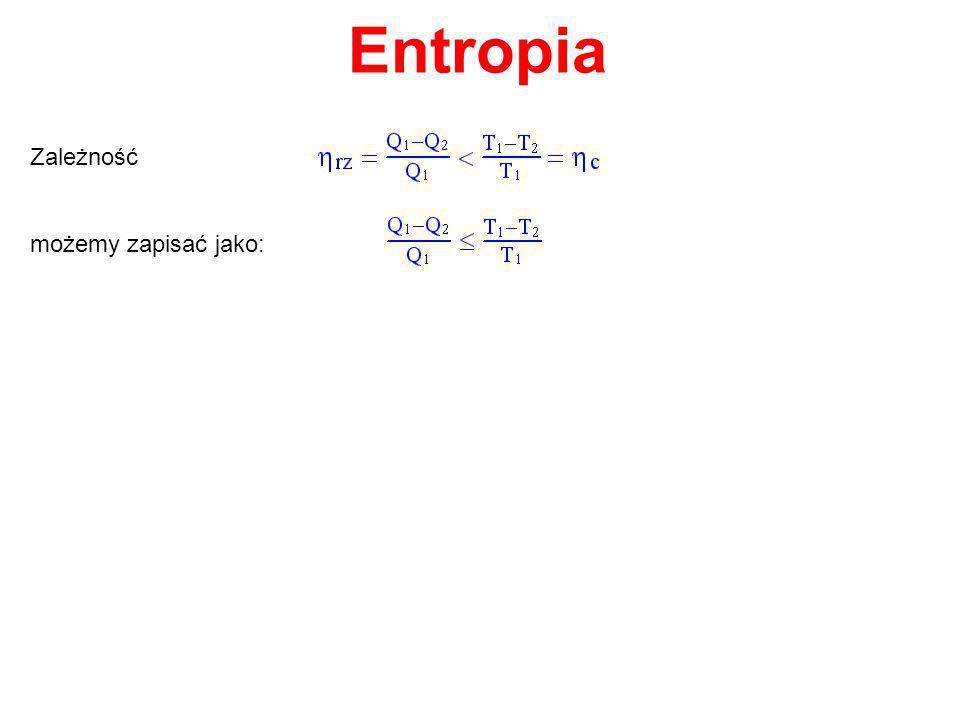 Entropia Zależność możemy zapisać jako: