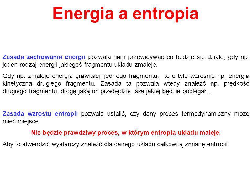 Nie będzie prawdziwy proces, w którym entropia układu maleje.