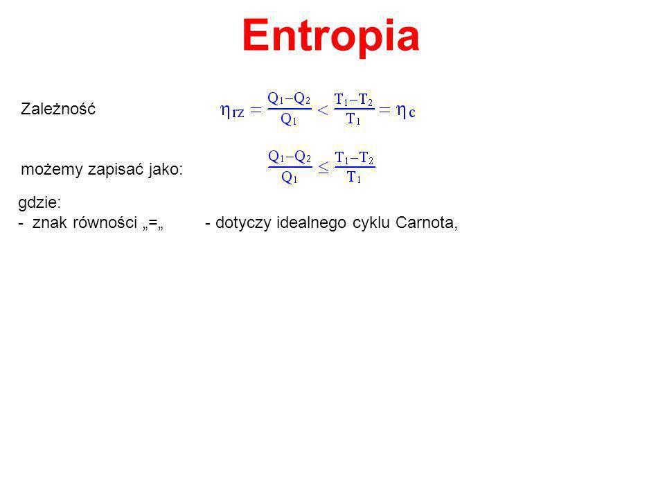 Entropia Zależność możemy zapisać jako: gdzie: