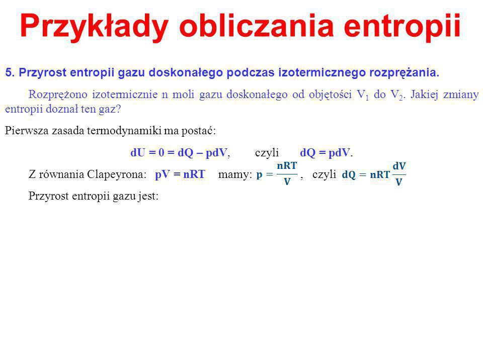 Przykłady obliczania entropii