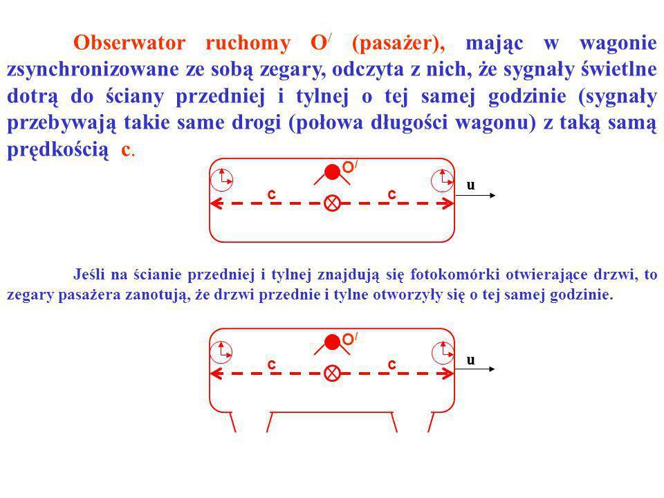 Obserwator ruchomy O/ (pasażer), mając w wagonie zsynchronizowane ze sobą zegary, odczyta z nich, że sygnały świetlne dotrą do ściany przedniej i tylnej o tej samej godzinie (sygnały przebywają takie same drogi (połowa długości wagonu) z taką samą prędkością c.