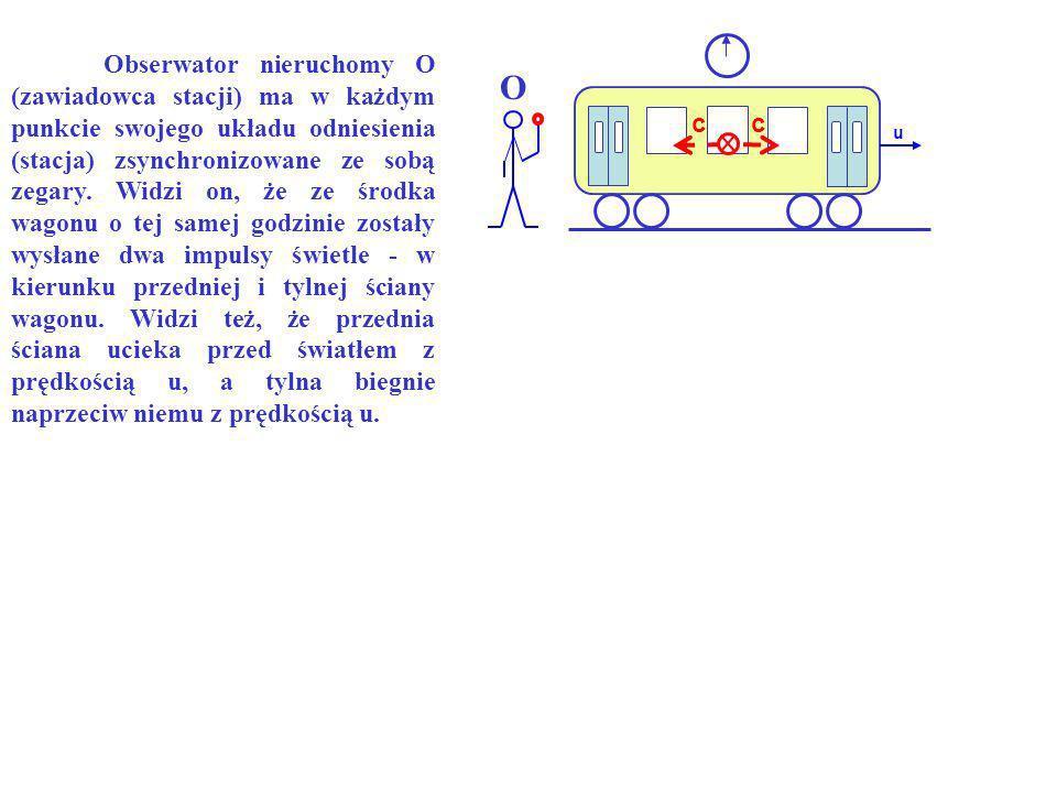 Obserwator nieruchomy O (zawiadowca stacji) ma w każdym punkcie swojego układu odniesienia (stacja) zsynchronizowane ze sobą zegary. Widzi on, że ze środka wagonu o tej samej godzinie zostały wysłane dwa impulsy świetle - w kierunku przedniej i tylnej ściany wagonu. Widzi też, że przednia ściana ucieka przed światłem z prędkością u, a tylna biegnie naprzeciw niemu z prędkością u.