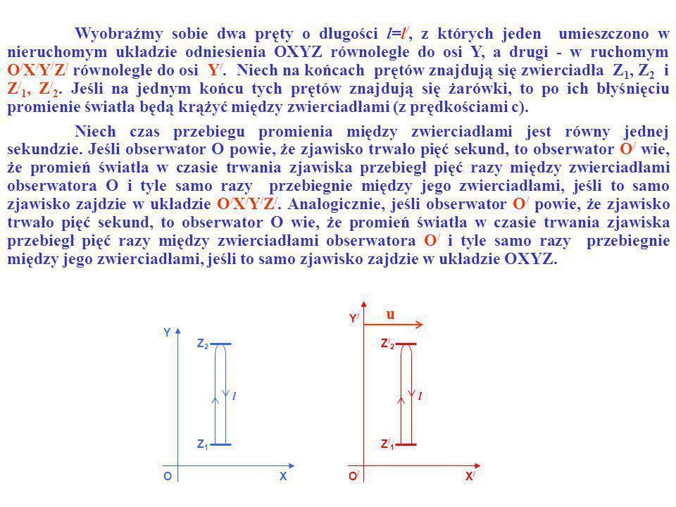 Wyobraźmy sobie dwa pręty o długości l=l/, z których jeden umieszczono w nieruchomym układzie odniesienia OXYZ równolegle do osi Y, a drugi - w ruchomym O/X/Y/Z/ równolegle do osi Y/. Niech na końcach prętów znajdują się zwierciadła Z1, Z2 i Z/1, Z/2. Jeśli na jednym końcu tych prętów znajdują się żarówki, to po ich błyśnięciu promienie światła będą krążyć między zwierciadłami (z prędkościami c).