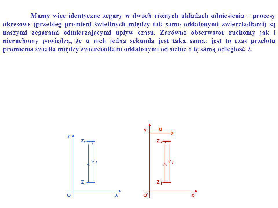 Mamy więc identyczne zegary w dwóch różnych układach odniesienia – procesy okresowe (przebieg promieni świetlnych między tak samo oddalonymi zwierciadłami) są naszymi zegarami odmierzającymi upływ czasu. Zarówno obserwator ruchomy jak i nieruchomy powiedzą, że u nich jedna sekunda jest taka sama: jest to czas przelotu promienia światła między zwierciadłami oddalonymi od siebie o tę samą odległość l.
