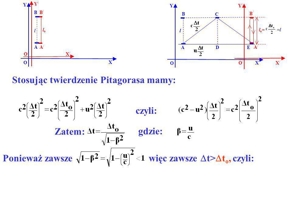 Stosując twierdzenie Pitagorasa mamy: