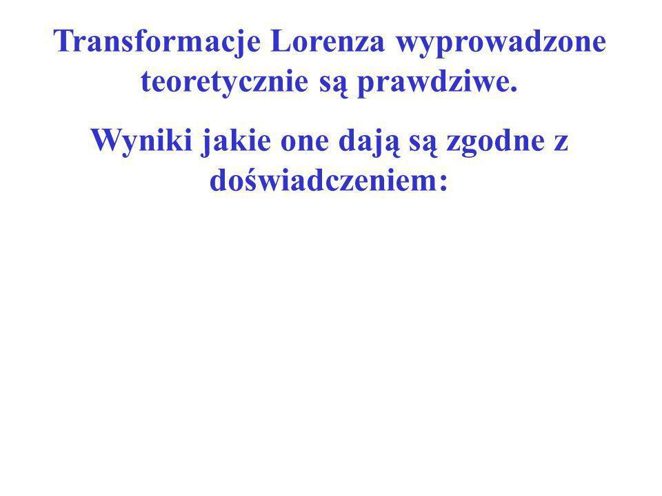Transformacje Lorenza wyprowadzone teoretycznie są prawdziwe.