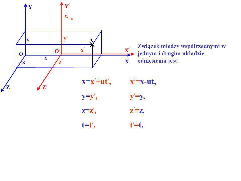 x=x/+ut/, x/=x-ut, y=y/, y/=y, z=z/, z/=z, t=t/. t/=t. y/