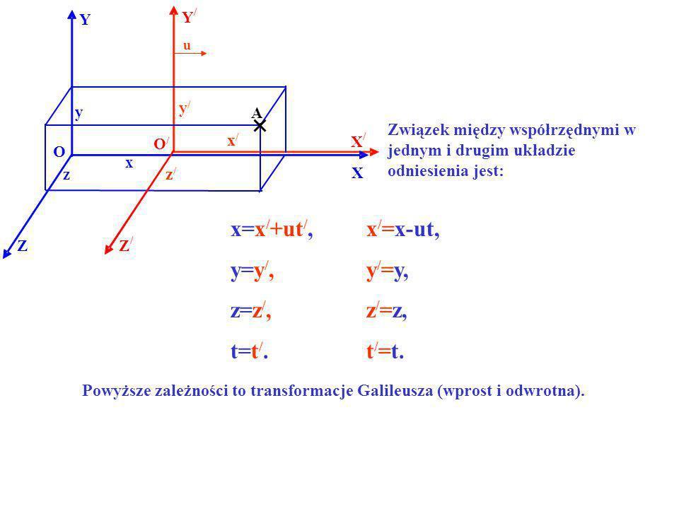 Powyższe zależności to transformacje Galileusza (wprost i odwrotna).
