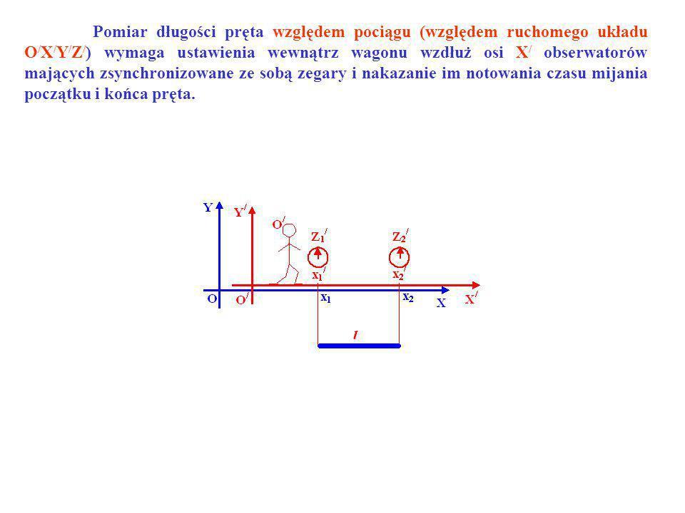 Pomiar długości pręta względem pociągu (względem ruchomego układu O/X/Y/Z/) wymaga ustawienia wewnątrz wagonu wzdłuż osi X/ obserwatorów mających zsynchronizowane ze sobą zegary i nakazanie im notowania czasu mijania początku i końca pręta.