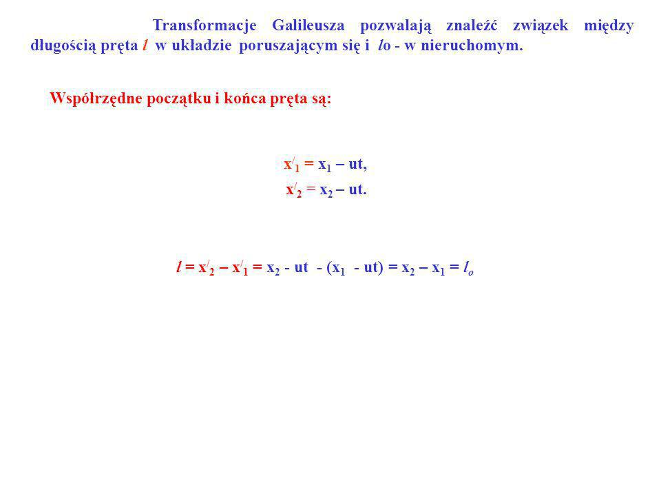 l = x/2 – x/1 = x2 - ut - (x1 - ut) = x2 – x1 = lo