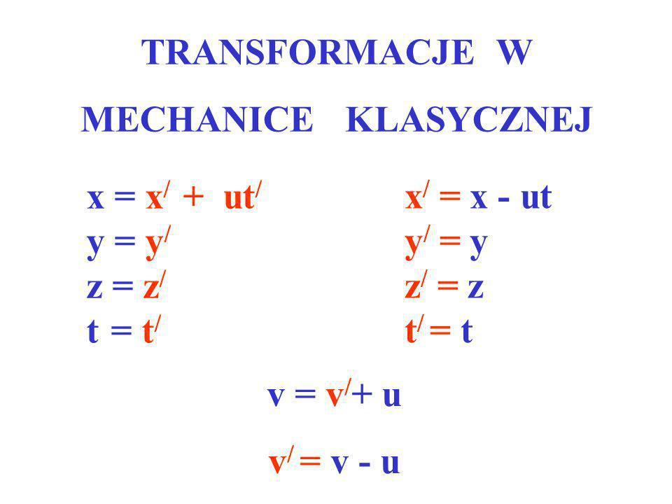 TRANSFORMACJE W MECHANICE KLASYCZNEJ. x = x/ + ut/ y = y/ z = z/ t = t/ x/ = x - ut. y/ = y.