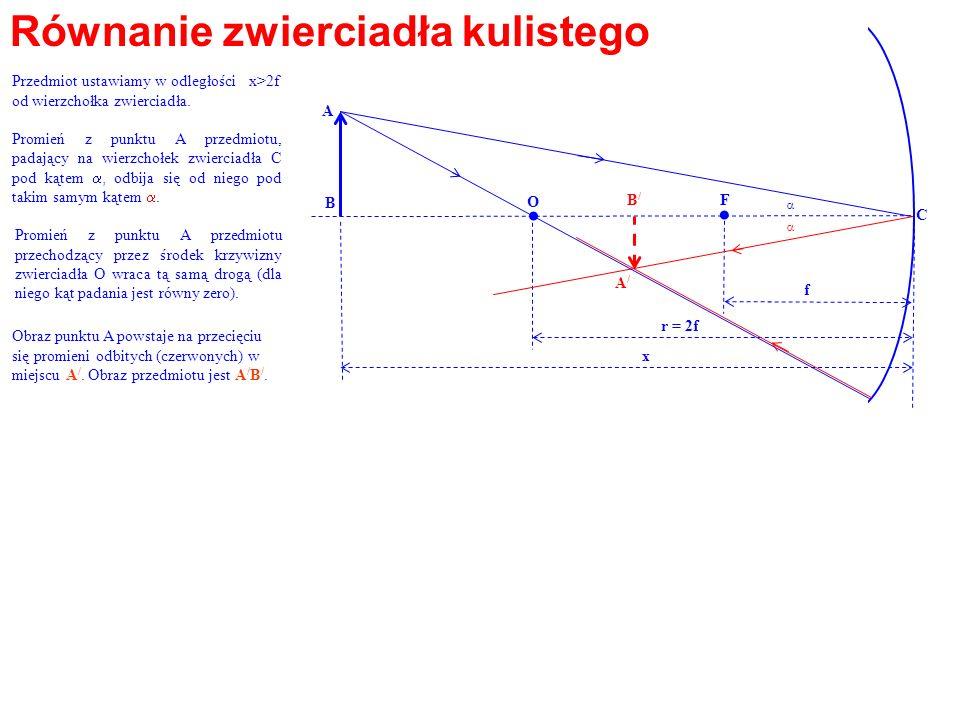 . Równanie zwierciadła kulistego O F A B B/ f r = 2f x A/ C