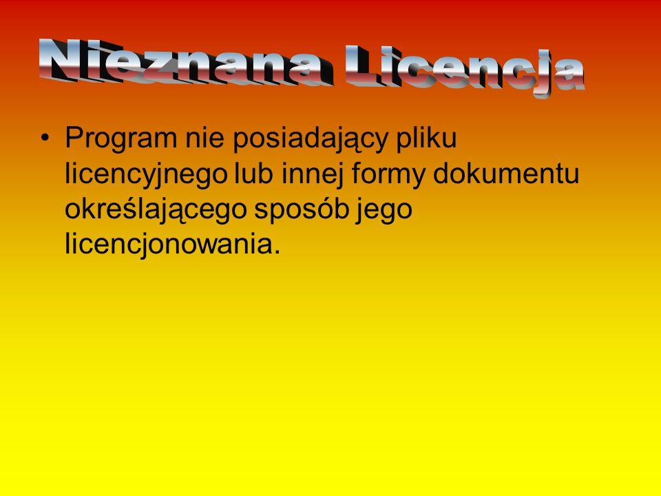 Nieznana Licencja Program nie posiadający pliku licencyjnego lub innej formy dokumentu określającego sposób jego licencjonowania.