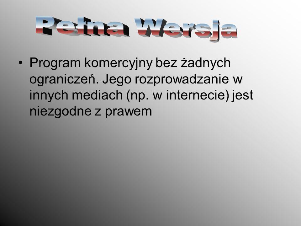 Pełna WersjaProgram komercyjny bez żadnych ograniczeń.