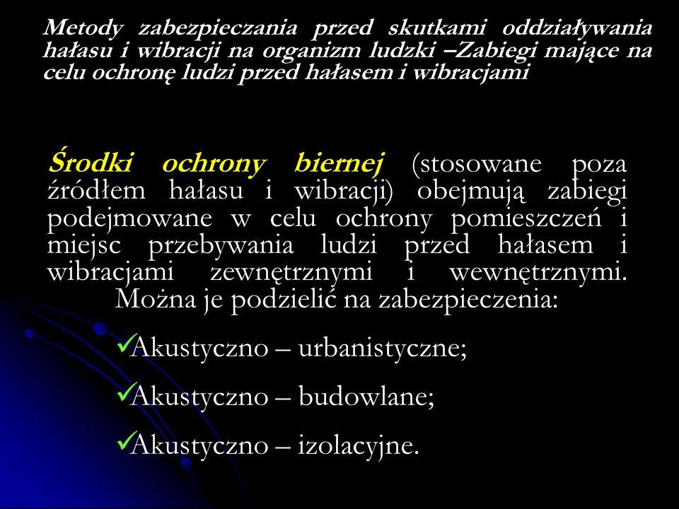 Akustyczno – urbanistyczne; Akustyczno – budowlane;