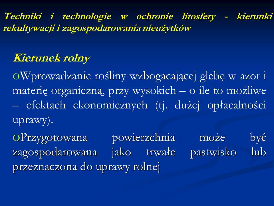 Techniki i technologie w ochronie litosfery - kierunki rekultywacji i zagospodarowania nieużytków