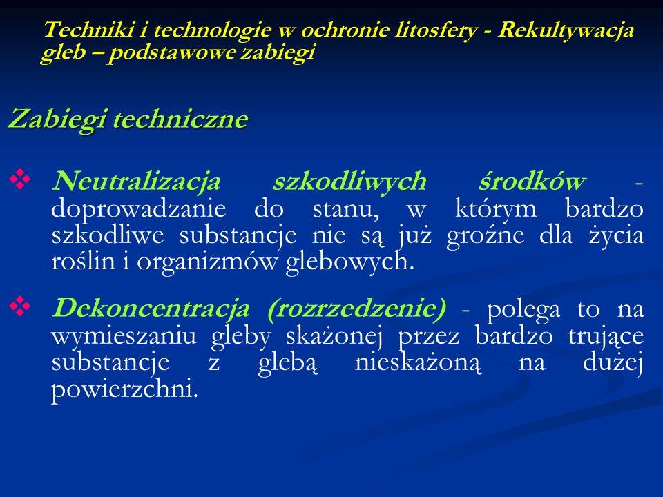 Techniki i technologie w ochronie litosfery - Rekultywacja gleb – podstawowe zabiegi