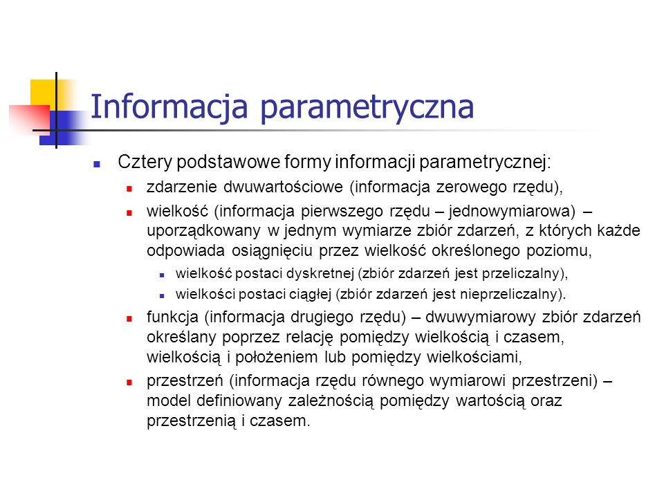 Informacja parametryczna