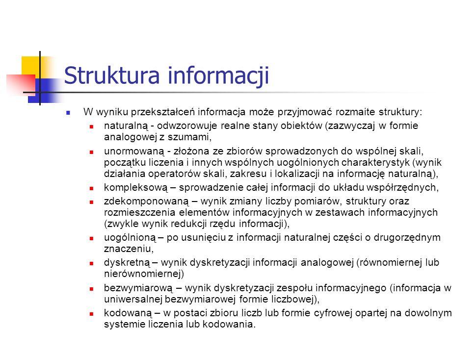 Struktura informacji W wyniku przekształceń informacja może przyjmować rozmaite struktury: