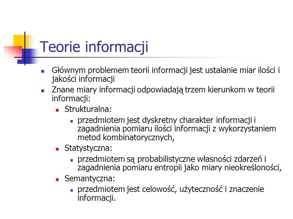 Teorie informacji Głównym problemem teorii informacji jest ustalanie miar ilości i jakości informacji.