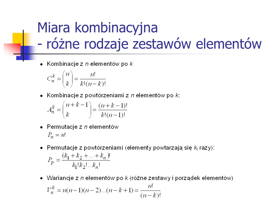 Miara kombinacyjna - różne rodzaje zestawów elementów